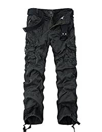 OCHENTA Men's Cotton Washed Slim-fit Multi Pockets Military Cargo Pant