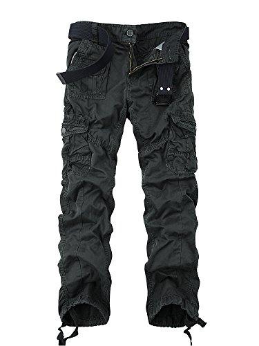 Ochenta tassen broek fit Meerdere Dark 3380 Casual Wash heren Cargo voor Grey broek Loose Water katoenen rrRvFTq5n