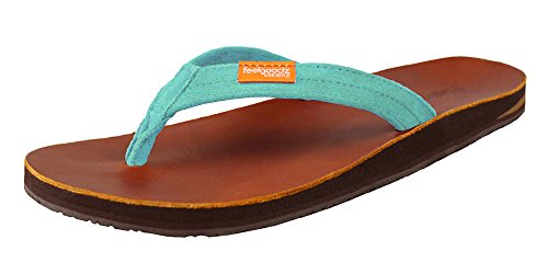 cac1aed07b30 Feelgoodz Women s Slim Kinderz - Natural Leather Flip Flop with Soft Suede  Strap - Podiatrist Designed