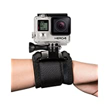 Fosmon Wrist Mount for GoPro Original HD Hero (Hero1) / HD Hero2 / 3 / 3 Plus / Hero4 Black / Silver / Session / Hero5 / Hero 5 Session (Black)
