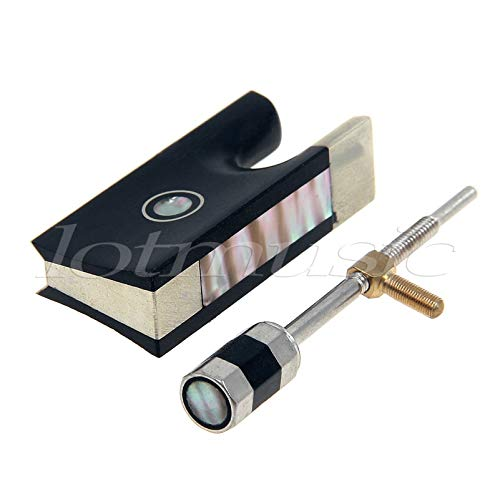 (4/4 Violin Bow Frog Ebony Abalone Shell Inlay And Screw Tip )