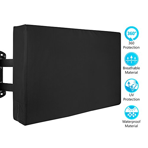 Black 52' Lcd (Outdoor TV Cover - Weatherproof Protector from Rain, Wind, Sun, UV, Dust - Fits 50