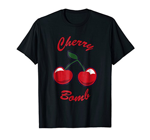 Cool  Cherry bomb T Shirt. 70s 80s 90s Fruit Neon Retro ()