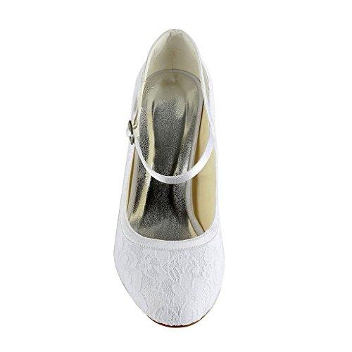 Sposa Jia Di Bianco Dance Party Wommen Bridal Basso A31b13 Tacco Pizzo Scarpe Prom Raso Da Punta Chiusa Pompe rwrRC6qxt