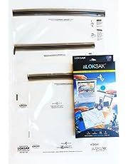 "LOKSAK aLOKSAK Resealable Bags Large Multi-Pack (Set of 3-12X12"", 13X11"", 16X24"")"