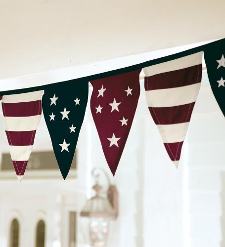 (Plow & Hearth Cotton Duck Stars and Stripes Americana Pennant Bunting with)