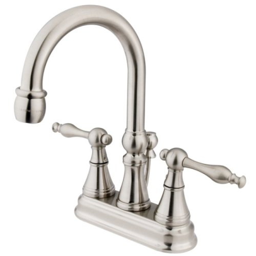 Kingston Brass KS2618NL Naples 4-Inch Centerset Lavatory Faucet with Brass Pop-Up, Brushed Nickel ()