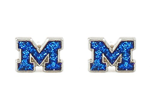Michigan Wolverines - NCAA Glitter Logo Post (0.25 Post Earrings)