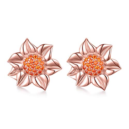 S925 Sterling Silver Sunflower with CZ Earrings (Rose Gold ()