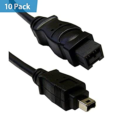 10 Pack - Firewire 400 9 Pin to 4 Pin cable, Black, IEEE-1394a, 3 foot - Hi-Speed Clear male bilingual mac DV iLink adapter