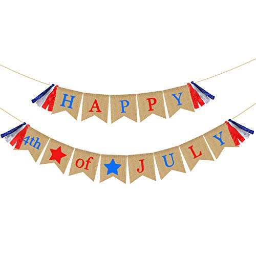 Patriotic Banner Burlap - Happy 4th of July Banner Bunting - Rustic Fourth of July Decorations - Independence Day Decorations Mantel Fireplace Wall Hanging Decor ()