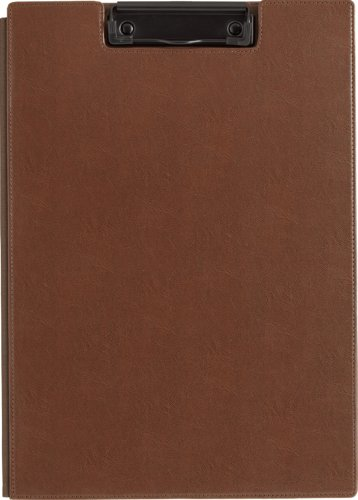 KINGJIM Synthetic Leather Clipboard Brown