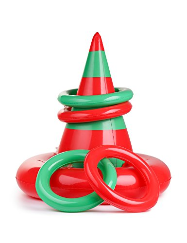 Christmas Inflatable Ring Toss Game - Elf Hat Holiday Xmas Kid's School Party Favors Toys