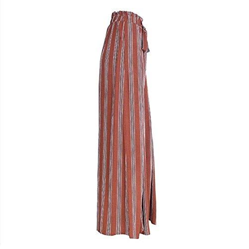 Femminile Cintura Waist Moda Pantaloni Donna Pantaloni Costume Capri Eleganti Spacco Rot High Estivi Pantaloni Larghi Inclusa Stripe Libero Pantalone Tempo Casual Pantalone Larghi OYaq77