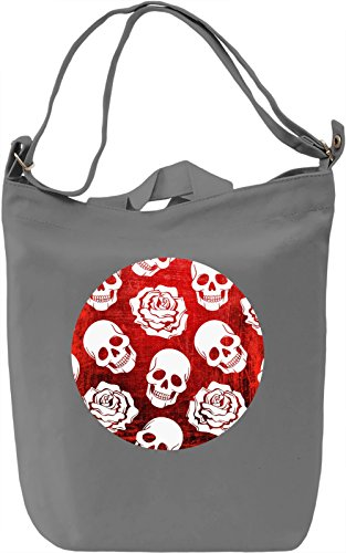 Roses And Skulls Borsa Giornaliera Canvas Canvas Day Bag| 100% Premium Cotton Canvas| DTG Printing|