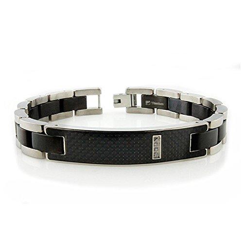 Titanium Black Carbon Fiber Inlay ID Link Bracelet w/ Personalized Engraving, 8.5 - Bracelet Date Titanium