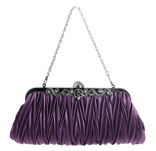 Pulama - Evening Handbag Classic Satin Detachable Strap Purple Clutc