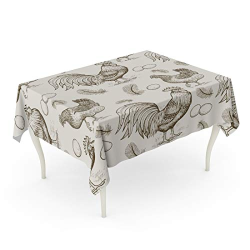 Oil Rooster (Semtomn Decorative Tablecloth Waterproof Printed Polyester Water Resistant Oil-Proof Engraving Roosters and Chickens Eggs Feathers Animals Rectangle Table Cloth 60 x 84 Inch)