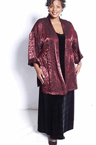 Peggy Lutz Plus Women's Tunic Length Kimono Ruby Crinkle Crash - (30/32)