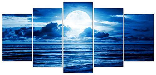 Bedroom Piece 5 - Pyradecor Blue Clouds Canvas Prints Wall Art Moon Sea Beach Pictures Paintings Ready to Hang for Living Room Bedroom Home Decor Modern 5 Piece Stretched and Framed Landscape Giclee Artwork