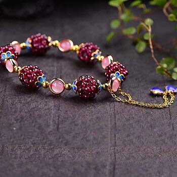 Natural Garnet Weaving Bead Bracelets | with Blue Bead Accessories Fashion Bracelet | for Men