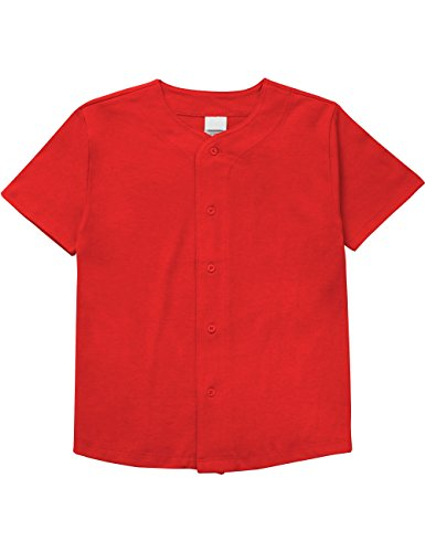 Hat and Beyond Kids Baseball Button Down Jersey Uniform Plain XXS-XL (Medium, Red)