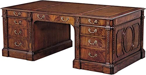 Scarborough House Partners Desk Crotch Mahogany Rosewood Leather File Drawer