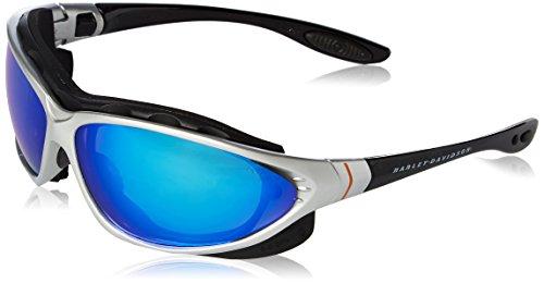 Uvex Harley Davidson Eyewear - Harley-Davidson HD1302 Safety Glasses with Black/Silver Frame and Blue Mirror Tint Anti-Fog Lens