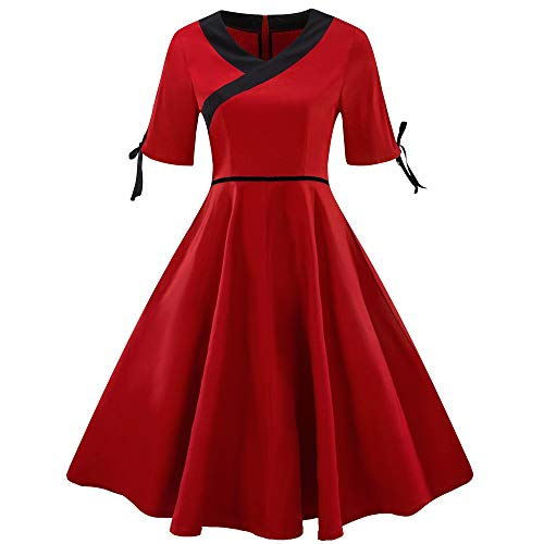Caopixx Dress Christmas for Women's 1950s Cut Out V-Neck Vintage Casual Party Cocktail Swing Dress -