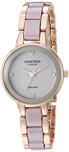 Armitron Women's 75/5532TPRG Diamond-Accented Rose Gold-Tone and Earl Grey Ceramic Bracelet Watch