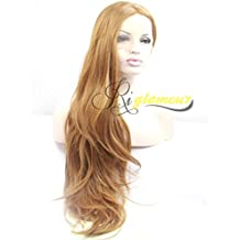 Riglamour Half Hand Tied Lace Front Synthetic Wigs Brown Long Natural Straight 100% Fiber Heat Resistant Hair Wig for Women and Girls 26 Inches