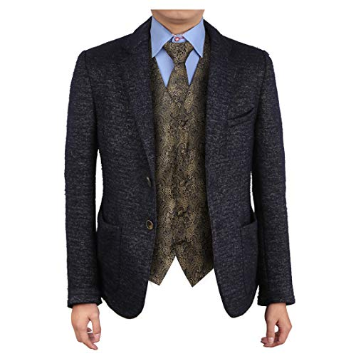 Epoint EGD2B01A-3XL Brown Vest Patterns Microfiber Dress Tuxedo Vest Neck Tie Set Inspire For Pretty