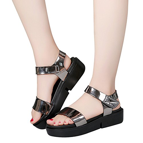 Toimothcn Women's Beach Sandals Summer Casual Thick Botton Flat Sandals Buckle Ankle Strap Dress Shoes(Silver1,US:5) ()