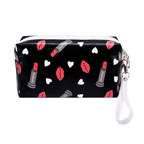 Fan-Ling Hand-Held Printing Ladies Makeup Storage Bag,Fashion Multi-Function Travel Storage Bag,Portable Makeup Clutch Bag For Women Girl (Black)
