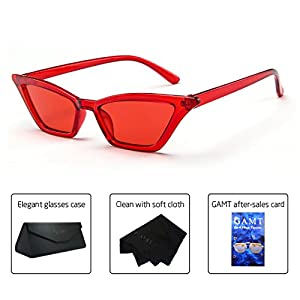 GAMT Vintage Cat eye Sunglasses for women Square Shade Women Eyewear Retro Candy Colorful Lens Glasses Red frame red