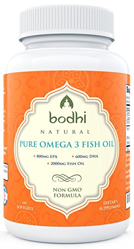 Powerful Omega 3 Fish Oil Supplement: 2000mg Fish Oil, (800mg EPA, 600mg DHA) Per Serving. Non GMO Formula. No Fishy Aftertaste. Perfect Source of Fatty Acids. 60 Softgels. - Fish Oil 3000 Mg Epa