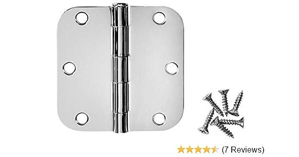 50 Pack 24091 Cosmas Polished Chrome Door Hinge 3.5 Inch x 3.5 Inch with 5//8 Inch Radius Corners