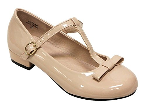 Anna Kate-5K Kids Low Heel strap Bow T-Strap Mary-Jane Shinny PU Nude 11
