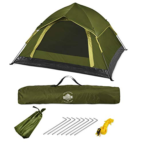 Lumaland Outdoor leichtes Pop Up Wurfzelt 3 Personen Zelt Camping Festival Sekundenzelt 210 x 190 x 110 cm Tragetasche
