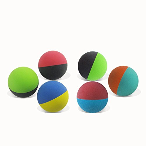 KEVENZ 6-Pack Rubber Dog Fetch Balls,Pet Toy Durable Bouncy Balls No Toxic,All Natural,BPA-Free (Red,Green,Black,Yellow) (Balls Small Rubber)
