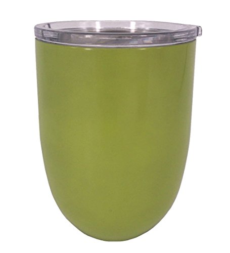 ICICLE 10oz Double Wall Vacuum Insulated Stemless Stainless Steel Lowball Wine Glass Tumbler with Spill Proof & Slide Lock Lid – BPA Free (1, Lime Green)