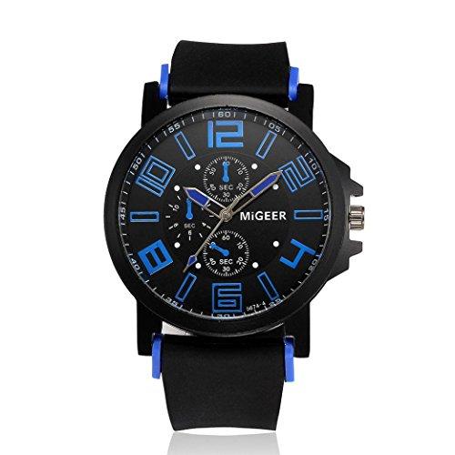 Transparent Dial Faux Leather Wrist Watch (Blue) - 4