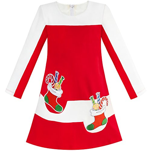 Sunny Fashion LQ94 Girls Dress Red Christmas Stockings Xmas