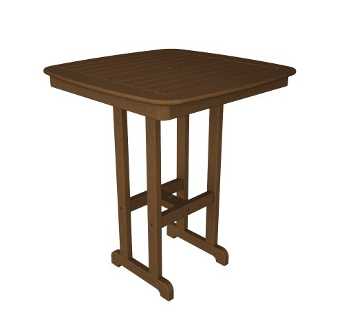 (POLYWOOD NCBT37TE Nautical Bar Table, 37-Inch, Teak)