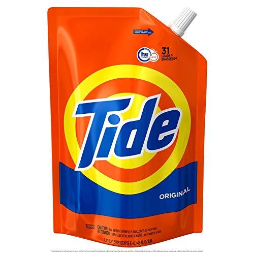 Tide Liquid Laundry Detergent Smart Pouch, Original Scent, HE Turbo Clean, 93 Loads (15 Pouches)