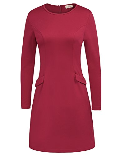 Elegant A-Line Palin Midi Dress Long Sleeve With Pockets Size S Wine (Palin Womens Long Sleeve)