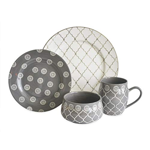 MOROCCAN GREY 16 PIECE DINNERWARE SET (Dish Gray Sets)