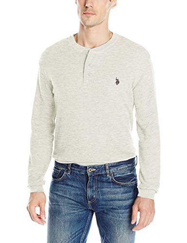 - U.S. Polo Assn. Men's Long Sleeve Thermal Henley, Oatmeal Heather, Small