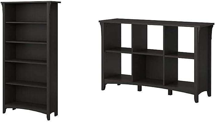 Bush Furniture Salinas 5 Shelf Bookcase in Vintage Black & Salinas 6 Cube Organizer in Vintage Black