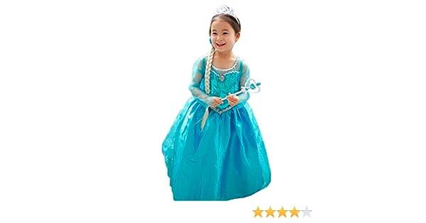 CIRAD Vestido Niñas Disfraz Anna Elsa Frozen (100 (2-3 años ...